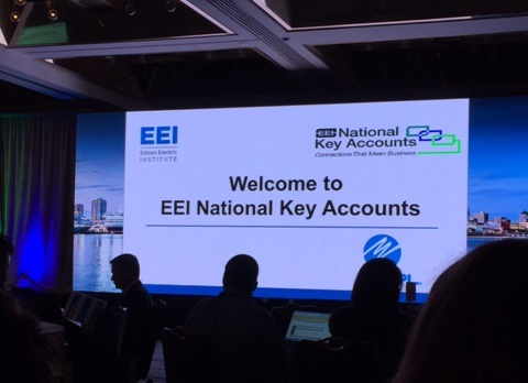 "EMC photo of a powerpoint presentation that says ""Welcome to EEI National Key Accounts"""
