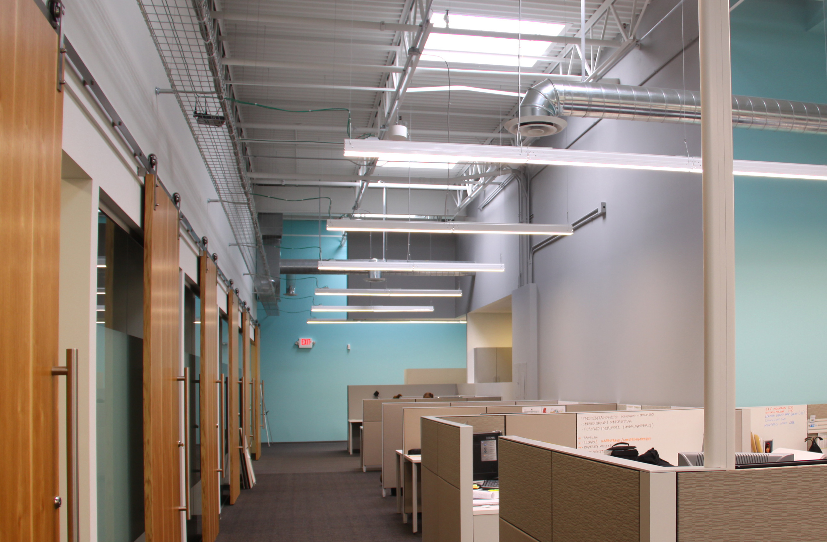 EMC office with desks and LED lighting in Plymouth, Minnesota