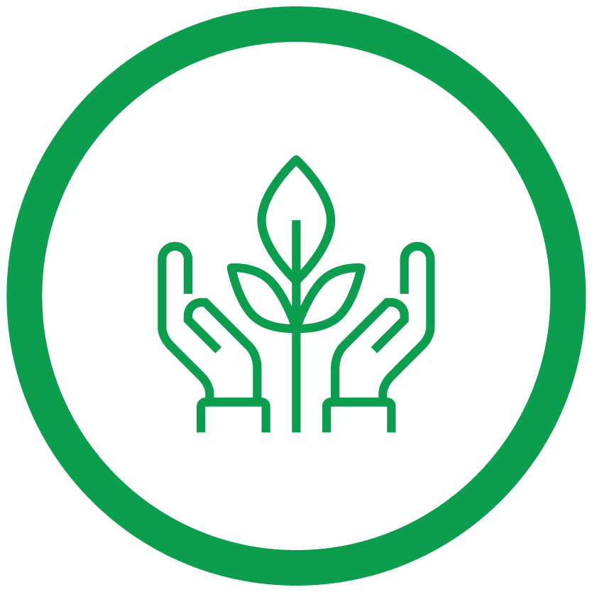 hand with leaves icon