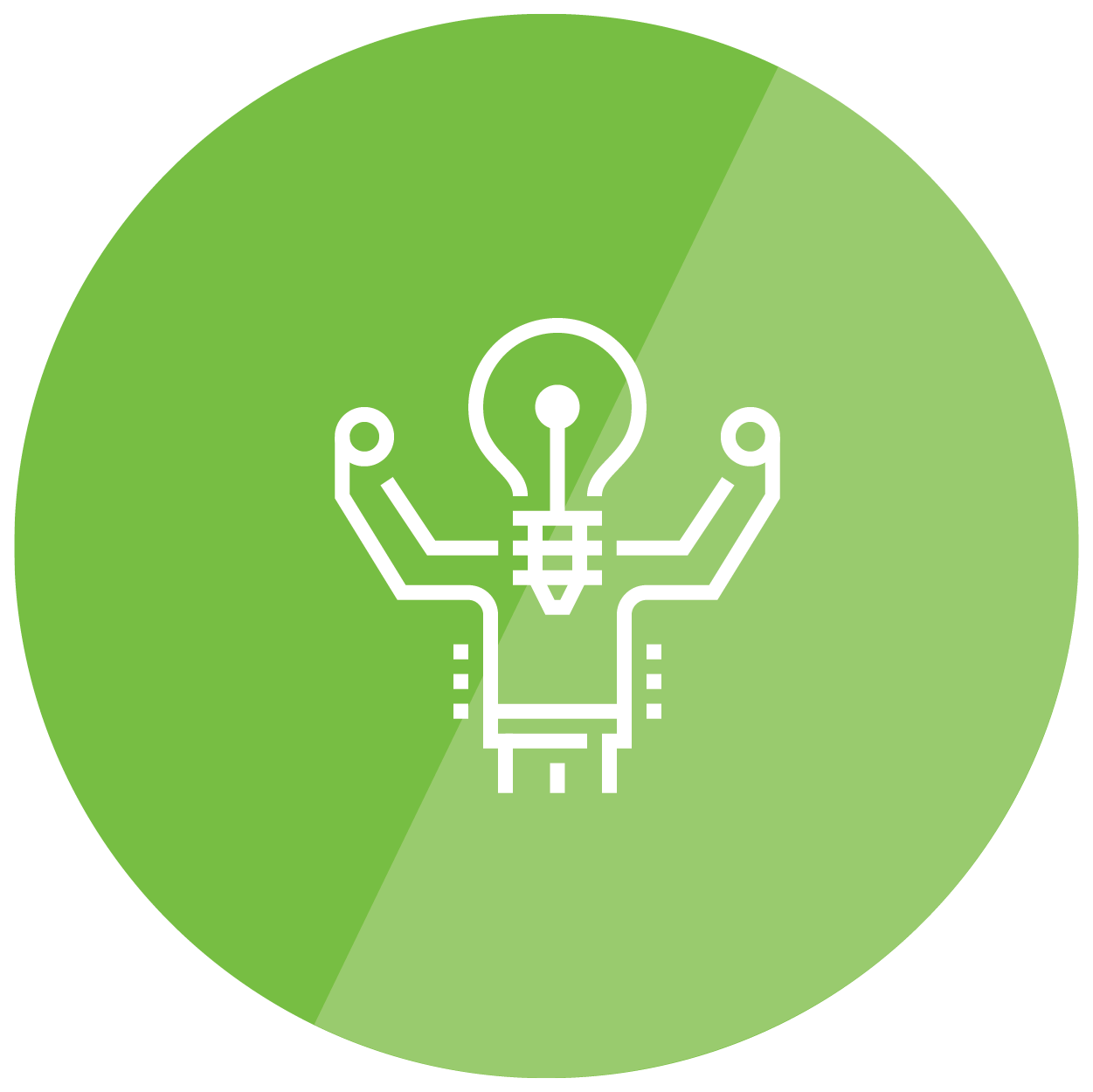 light bulb with strong arms icon
